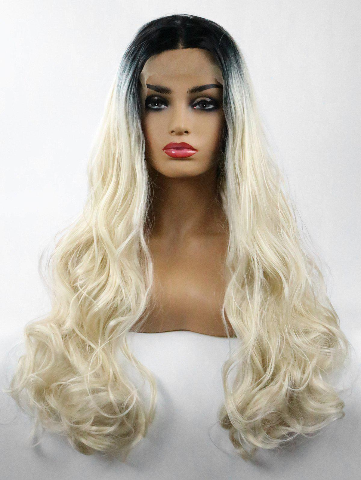 Chic Middle Part Long Colormix Wavy Party Lace Front Synthetic Wig