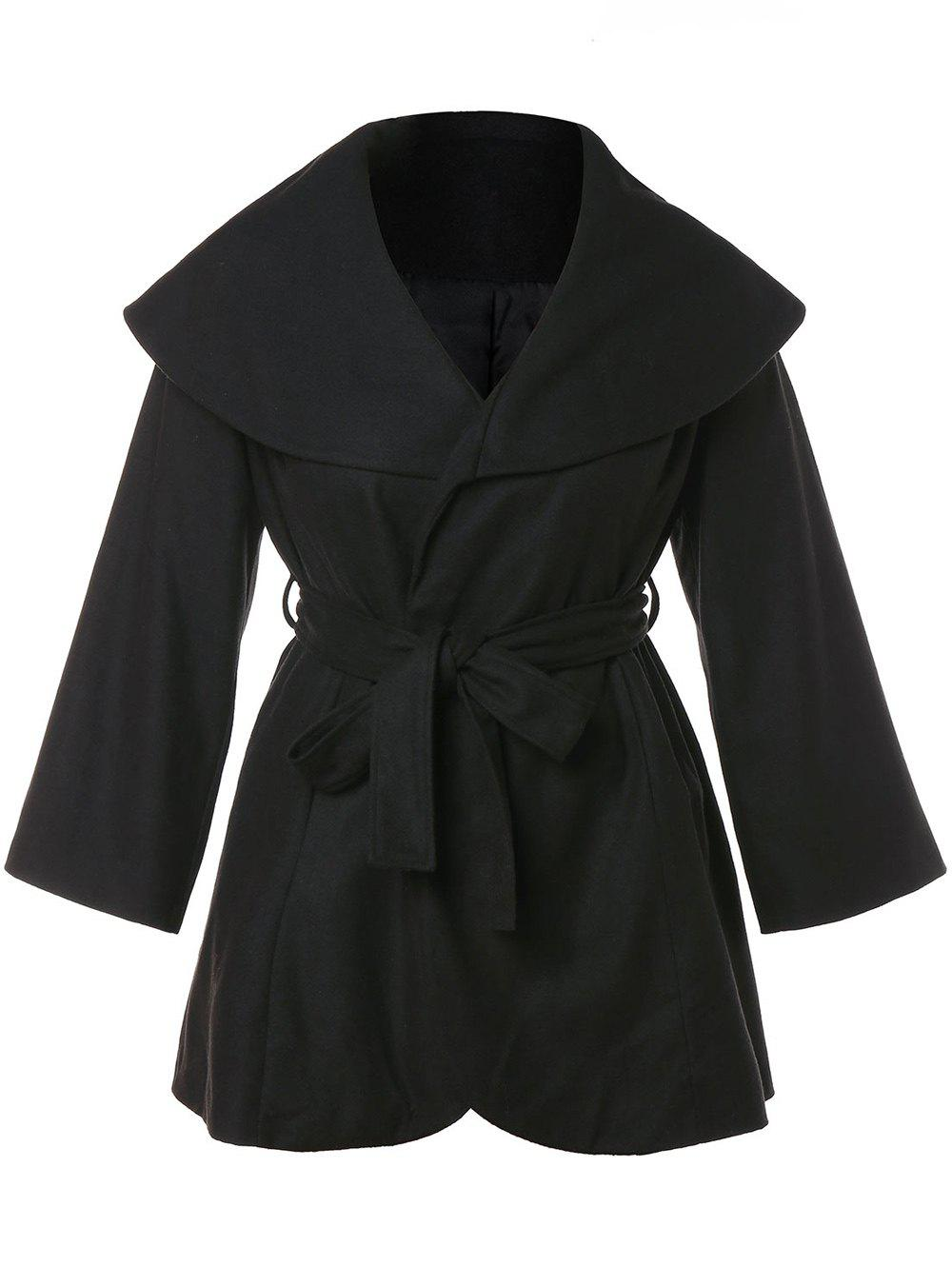 Chic Turn Down Collar Plus Size Belted Coat