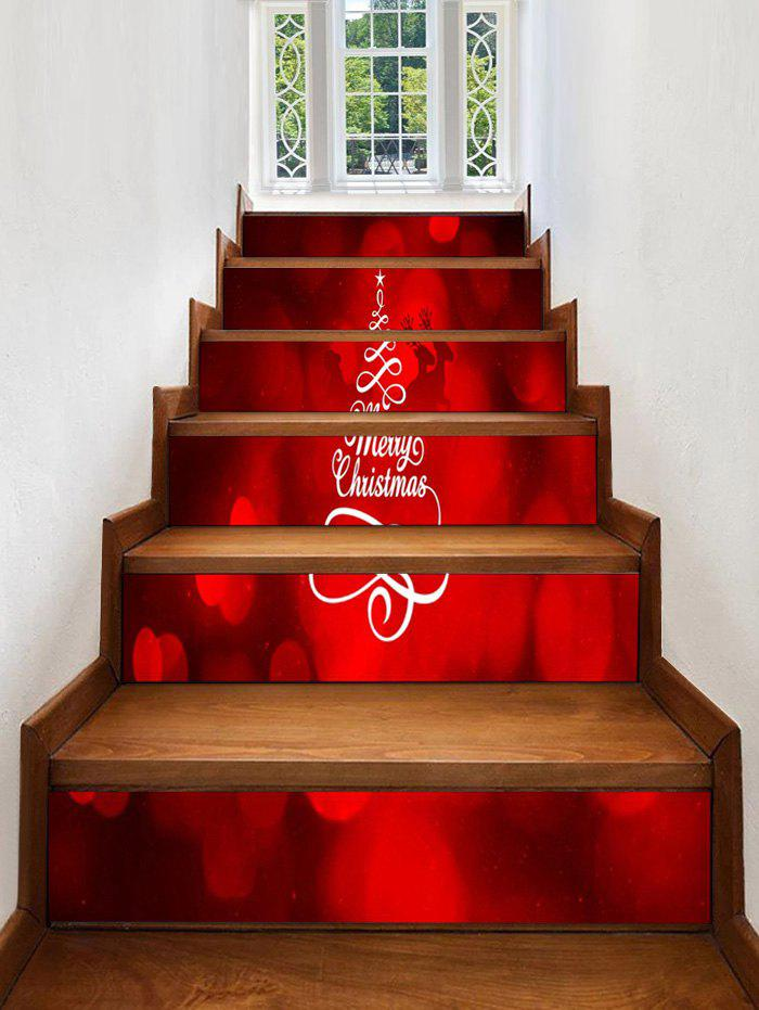 Affordable Merry Christmas Tree Pattern Stair Stickers