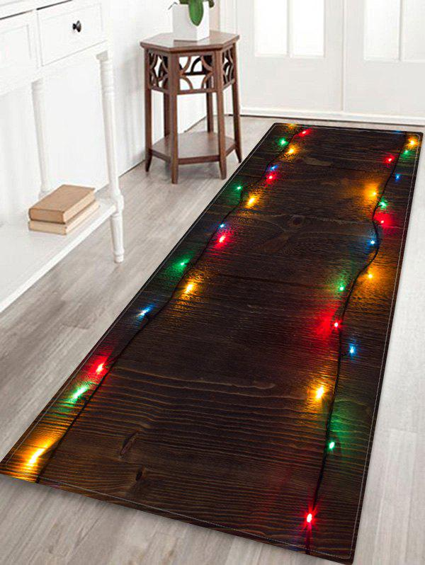 Outfits Wooden Christmas Light Printed Decorative Floor Mat