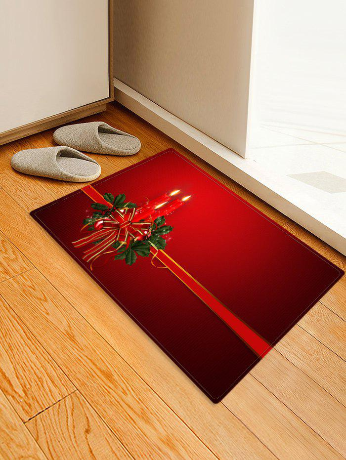 Christmas Candle Printed Decorative Floor Mat, Red