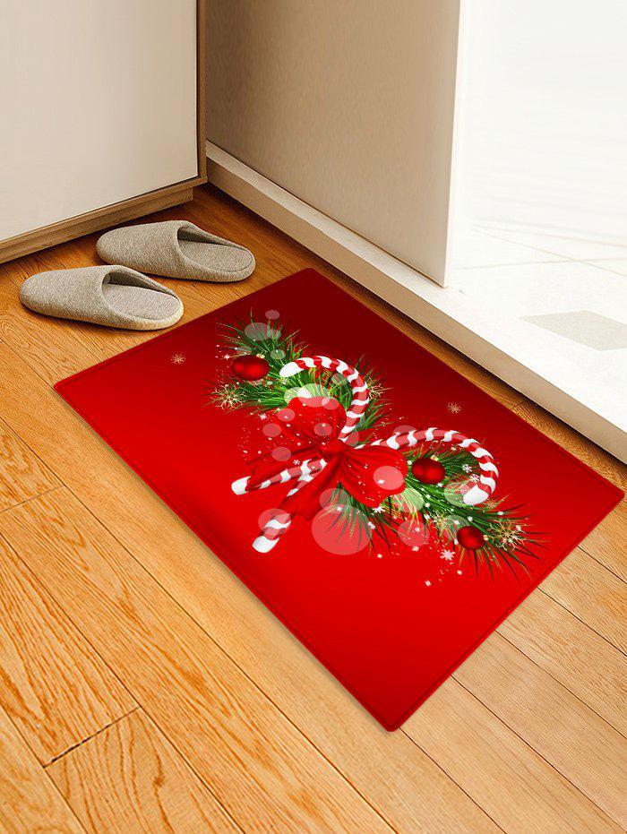 Store Christmas Candy Cane Printed Decorative Floor Mat
