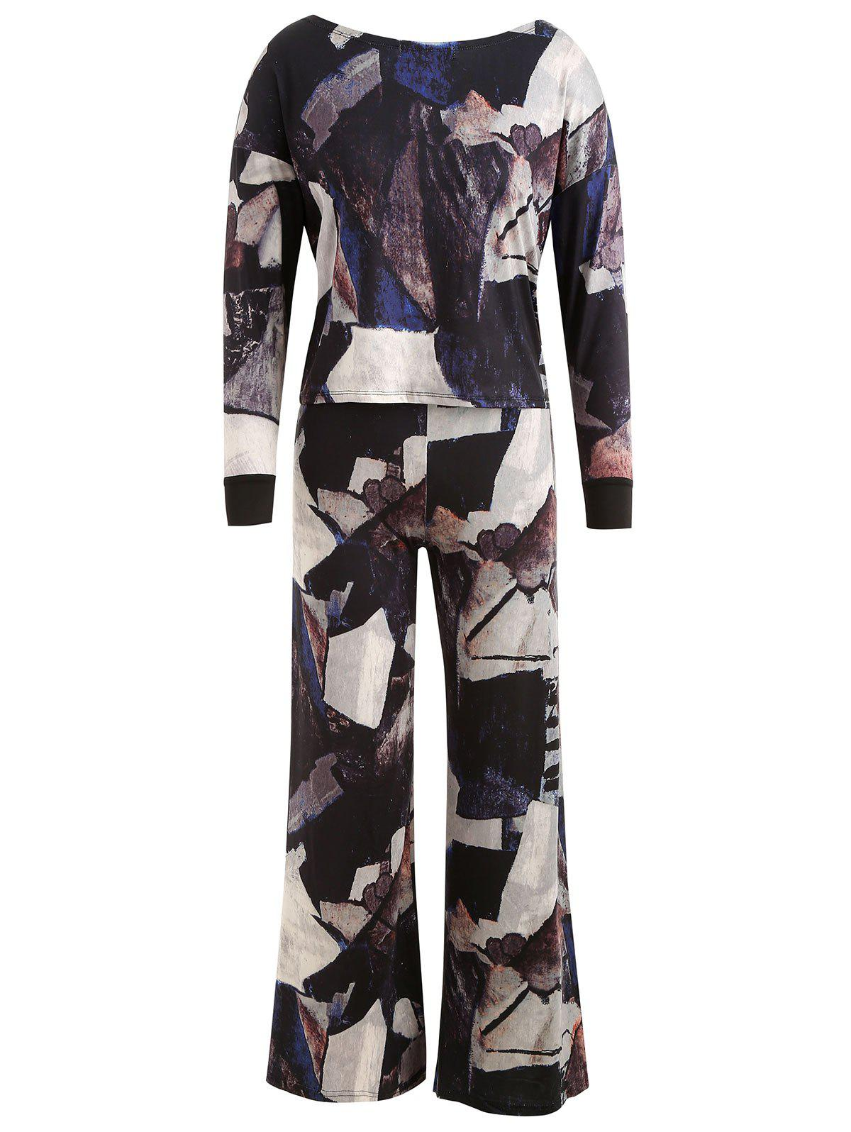 Best Abstract Print Top with Wide Leg Pants
