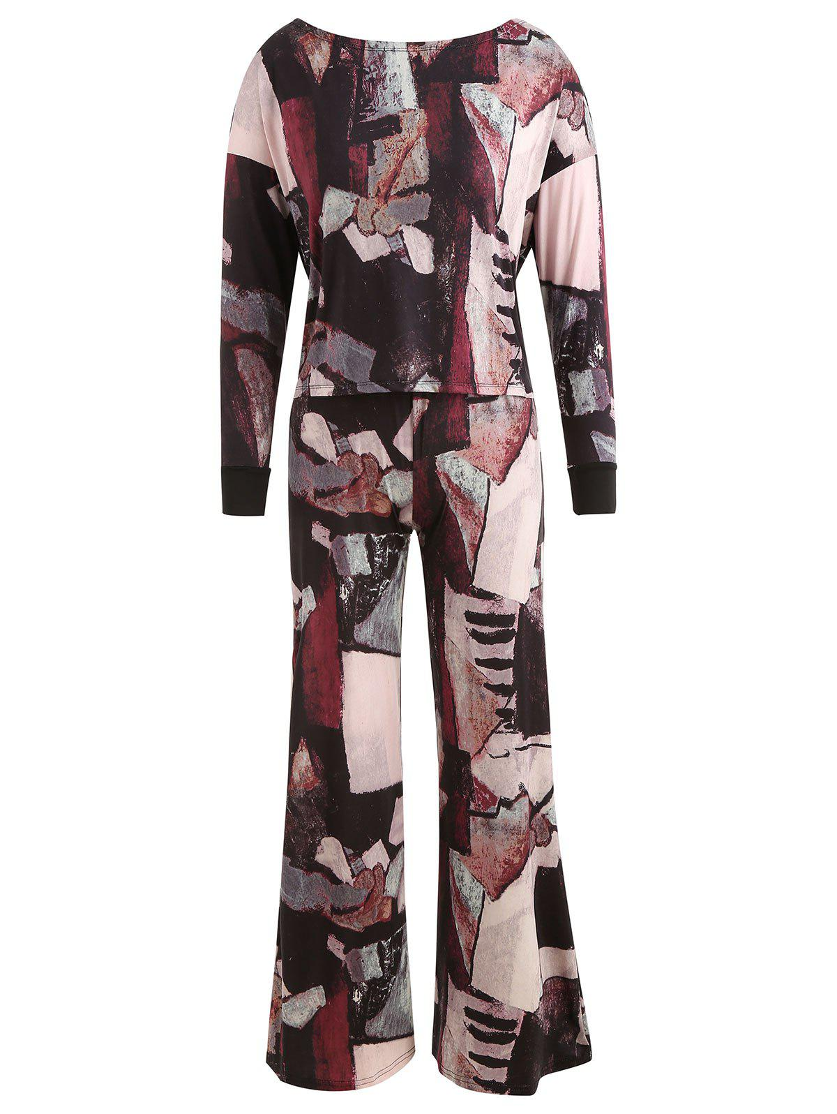 Discount Abstract Print Top with Wide Leg Pants