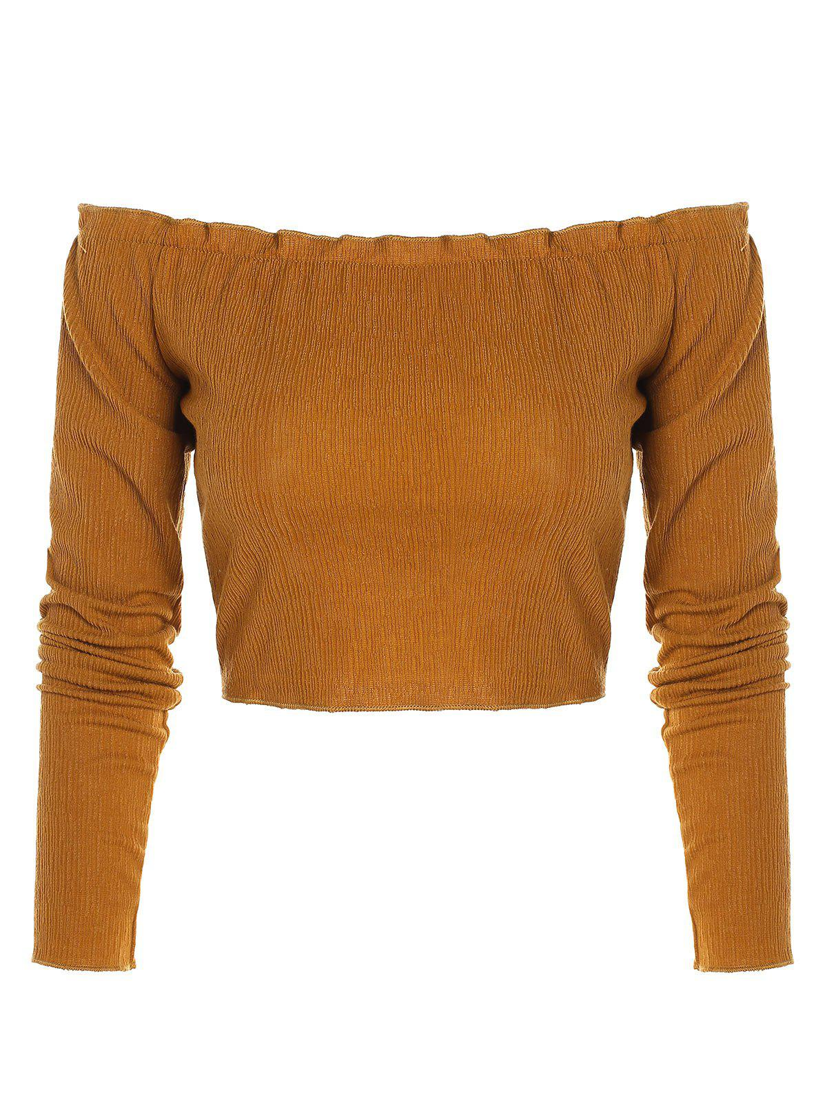 Latest Long Sleeve Off Shoulder Crop Top