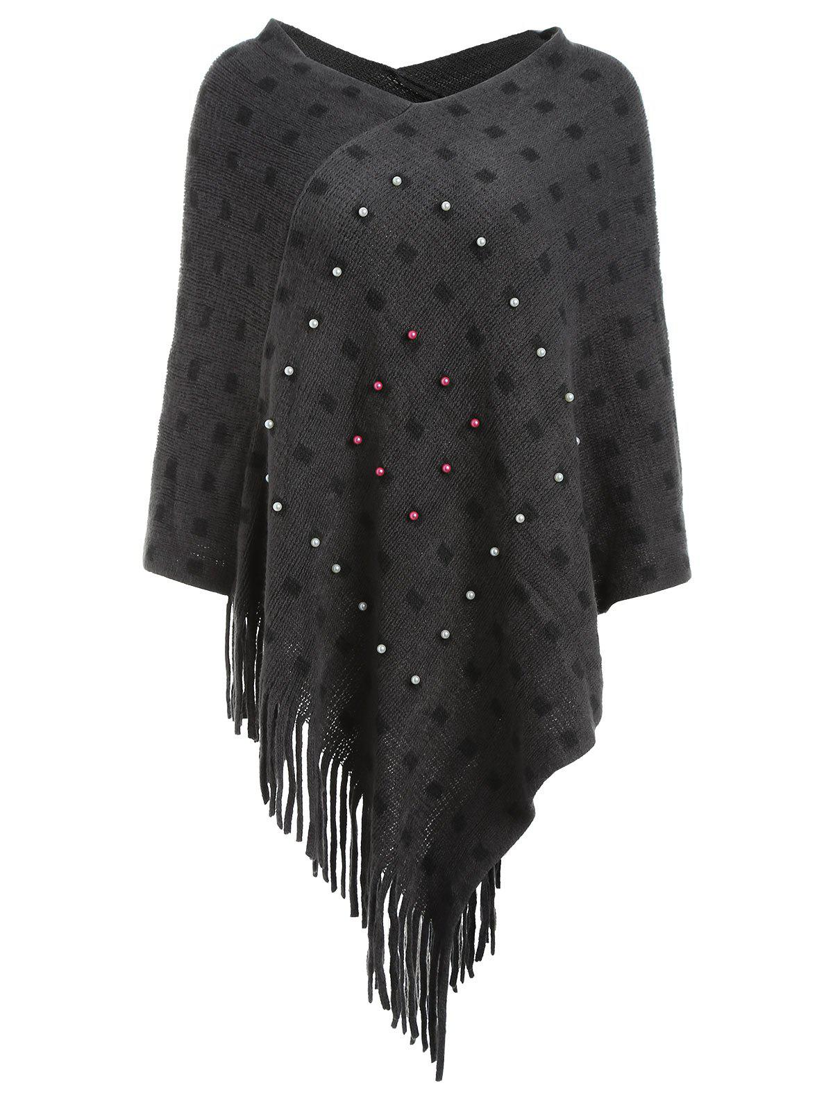 Shop Faux Pearl Fringed Cape Sweater