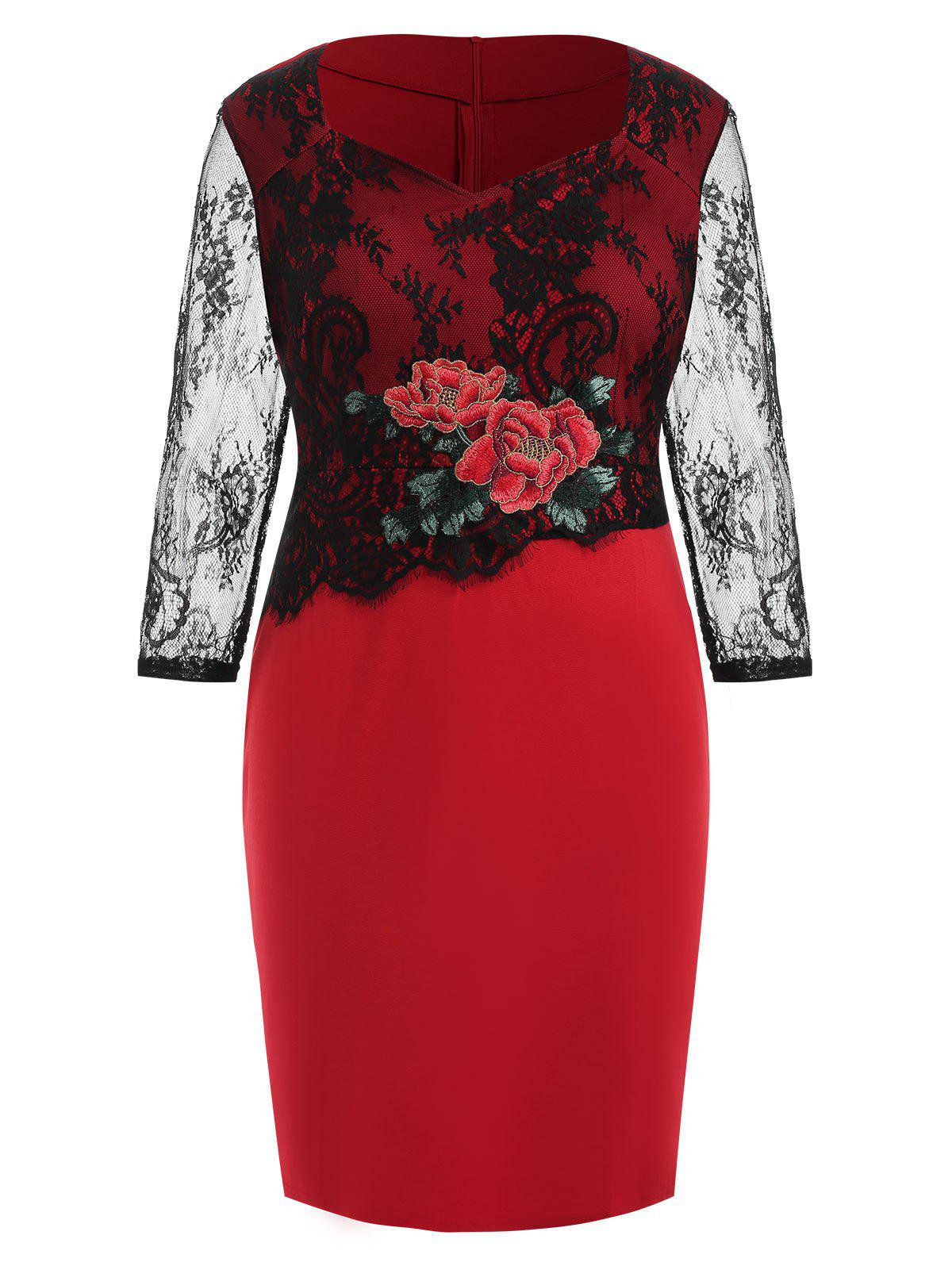 Buy Plus Size Slit Embroidered Bodycon Dress with Lace