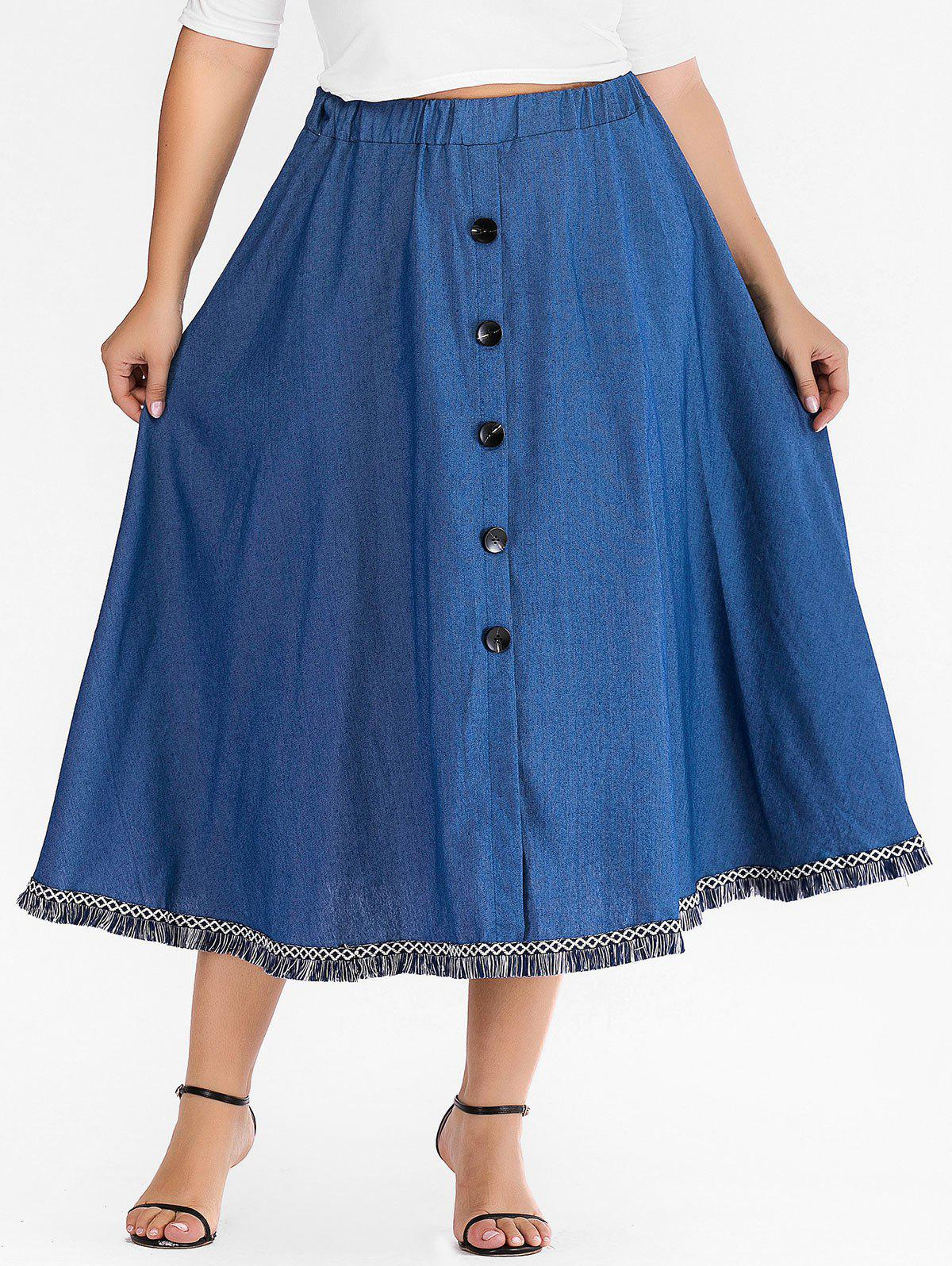 Outfits Plus Size Fringed Denim Skirt with Buttons