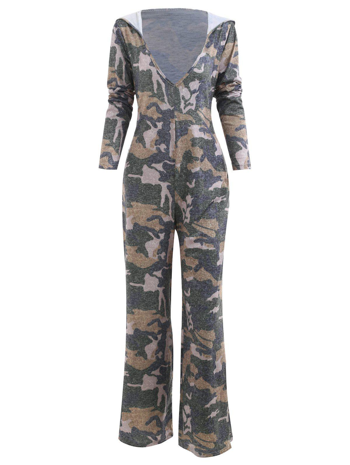 42ad5ed73a 69% OFF] Hooded Low Cut Camouflage Print Jumpsuit | Rosegal