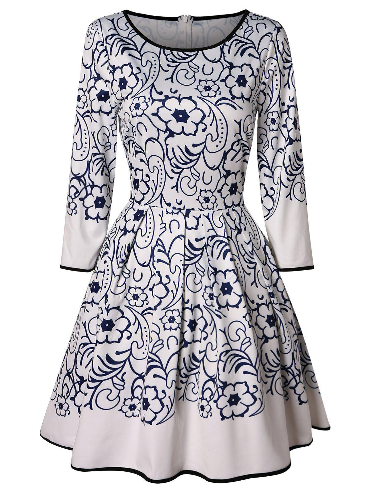 Fashion Vintage Floral Print Mini Flared Dress