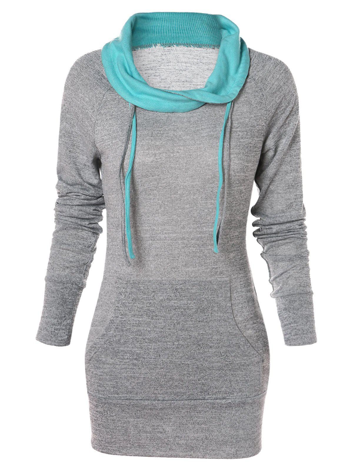 Chic Kangaroo Pocket Fitted Tunic Sweatshirt