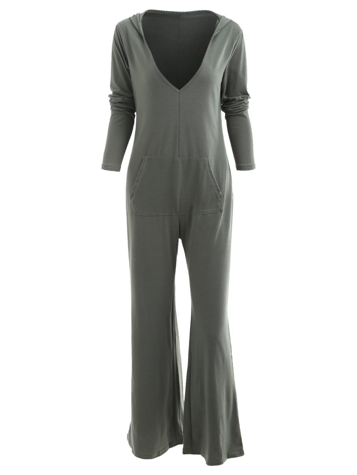 Sale Hooded Low Cut Wide Leg Jumpsuit