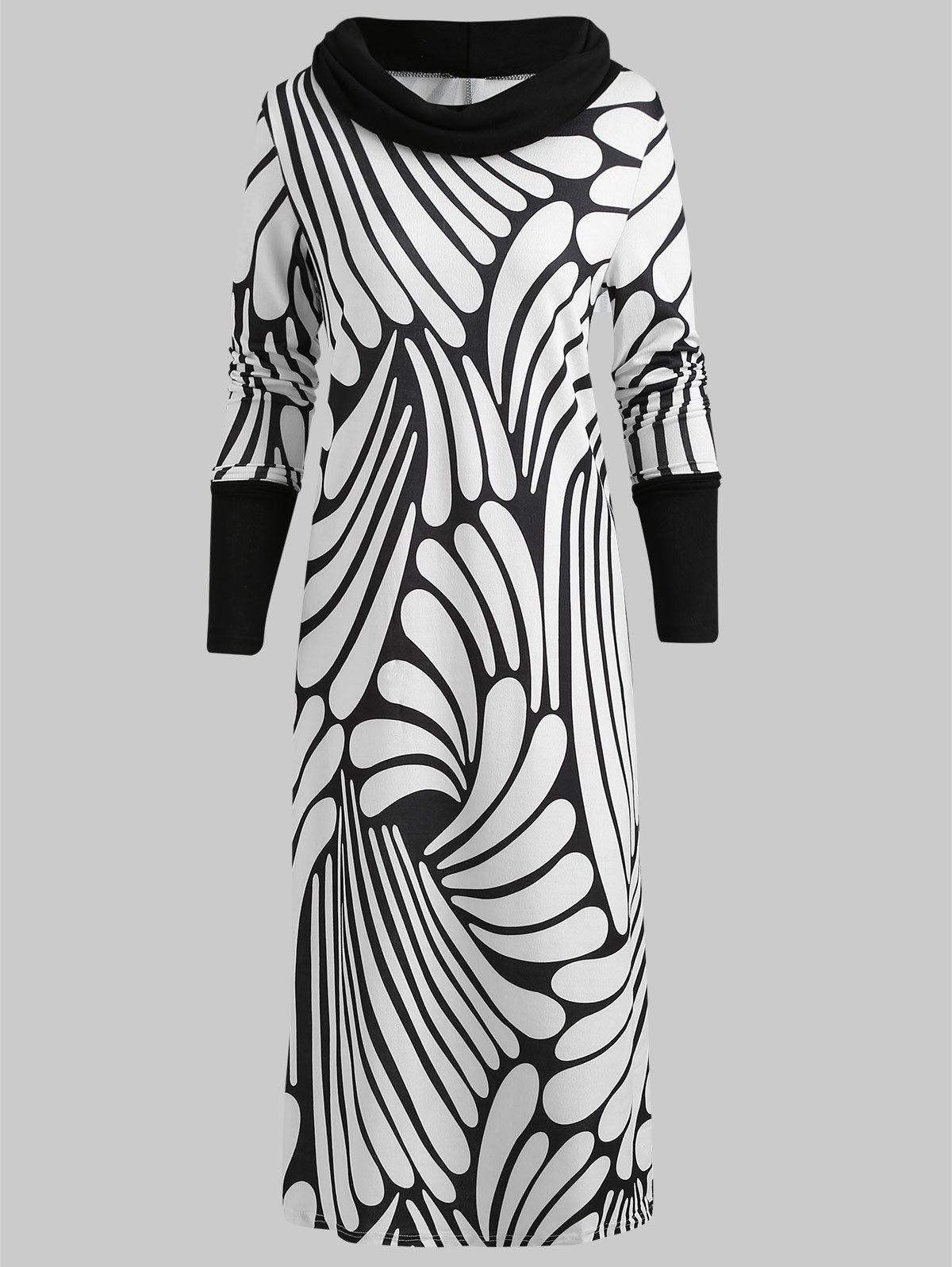 Affordable Cowl Neck Printed Sheath Dress