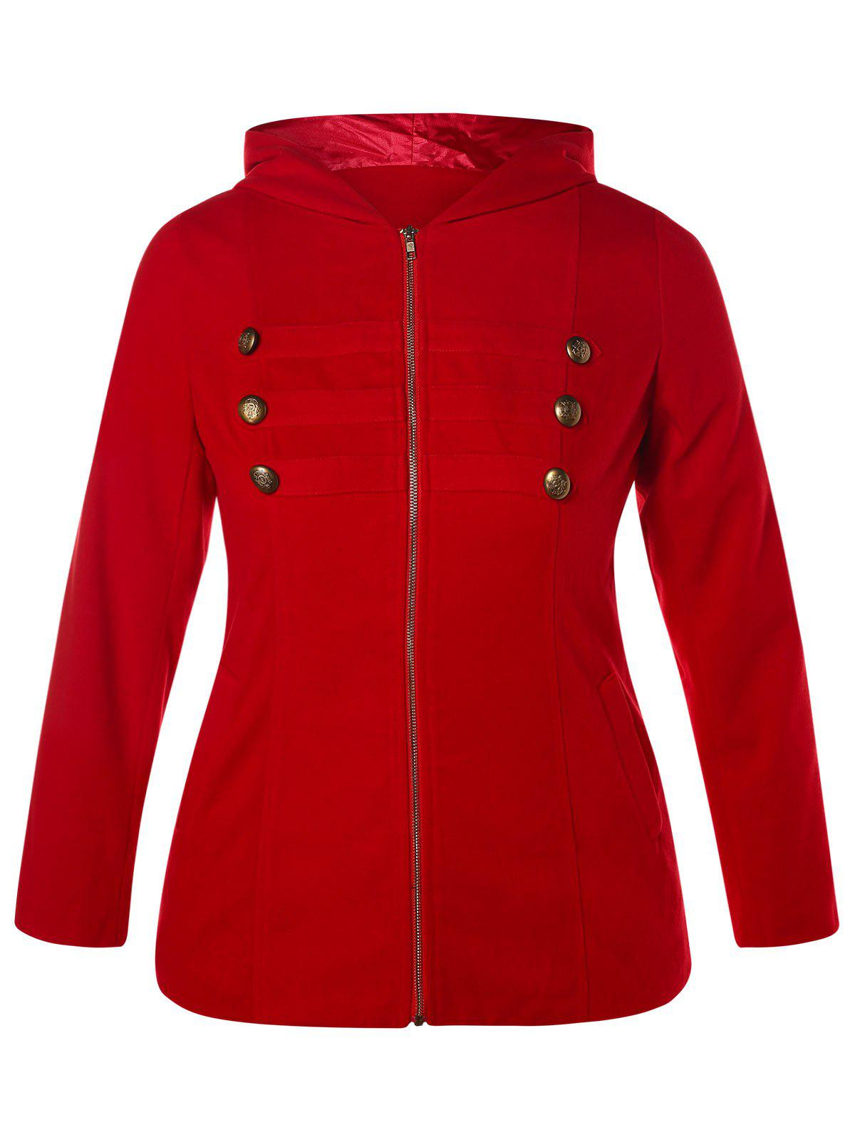 Store Plus Size Buttons Hooded Coat with Zipper Fly