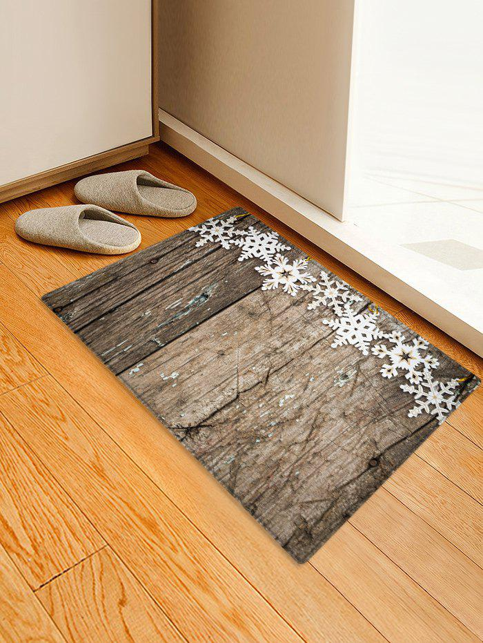 Outfit Christmas Snowflake Wooden Printed Decorative Floor Mat