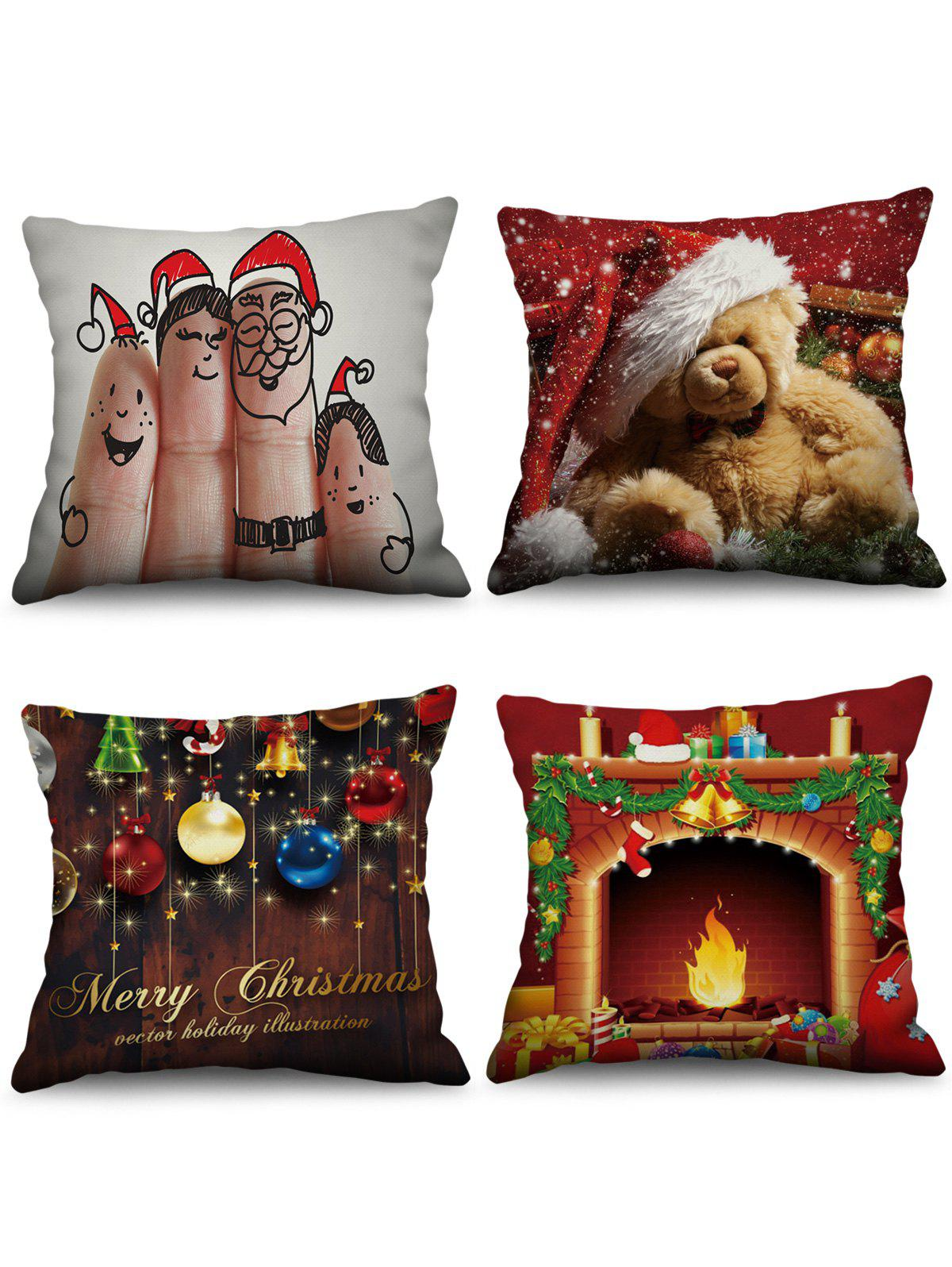 Shops 4PCS Christmas Bear Theme Printed Pillowcases