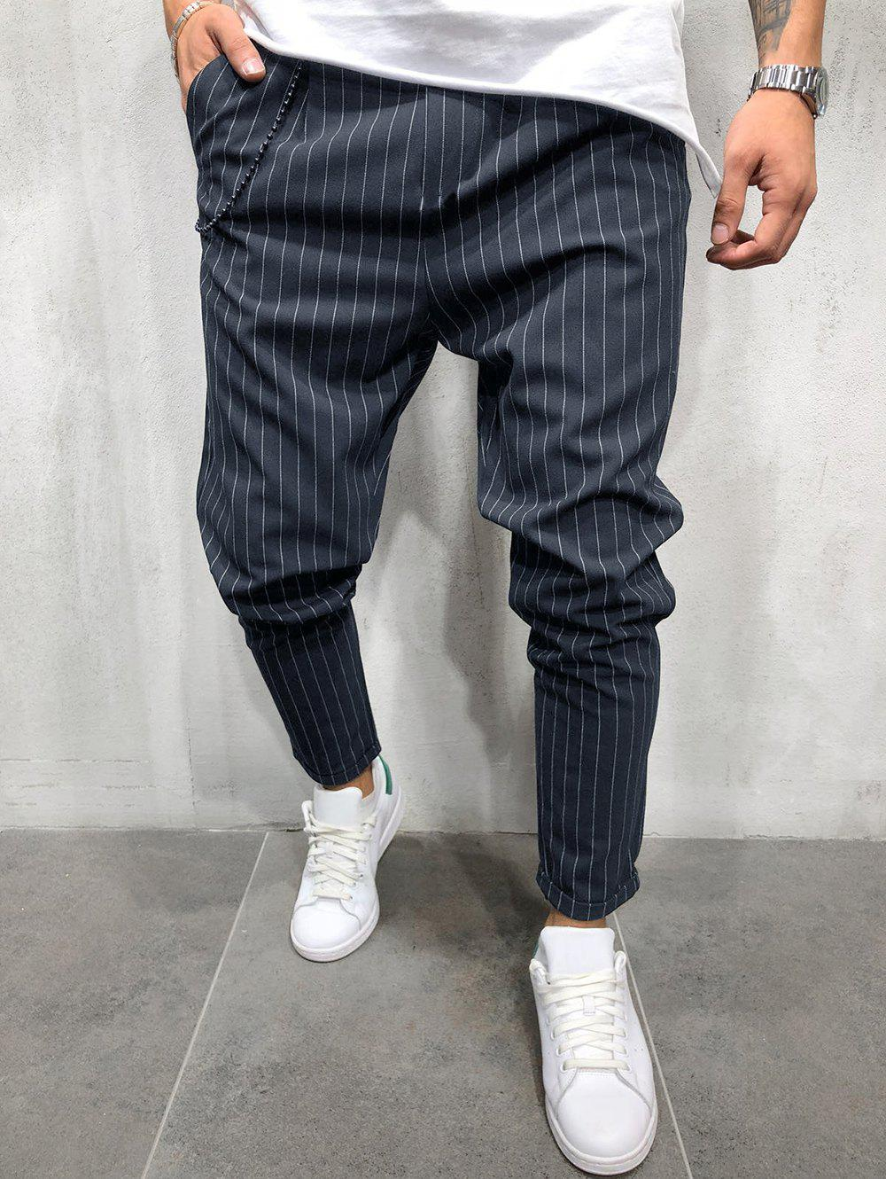 Affordable Stripe Elastic Waist Pants