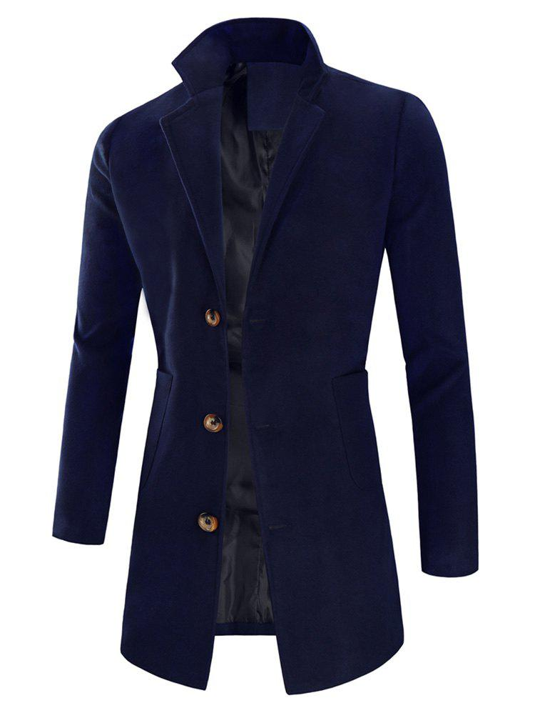 Manteau Long à Simple Boutonnage à Col Revers Cadetblue L