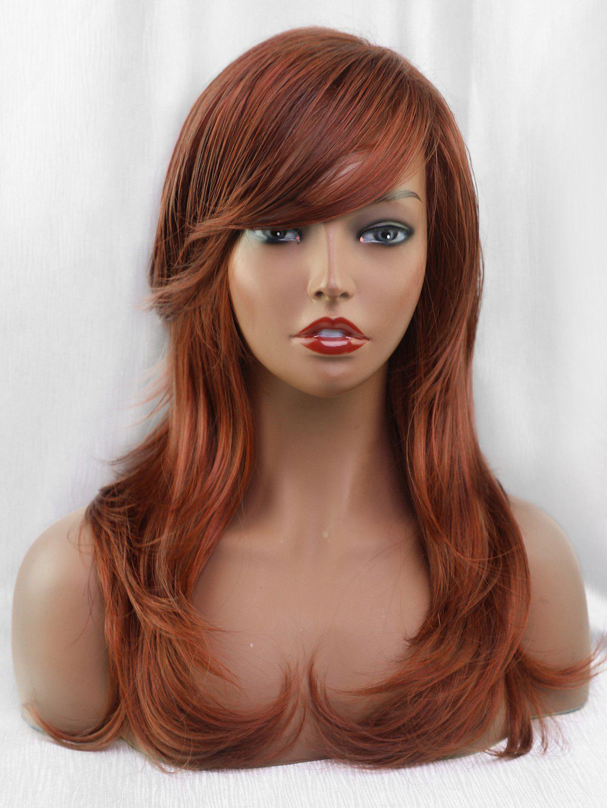 Unique Inclined Bang Long Layer Straight Party Synthetic Wig