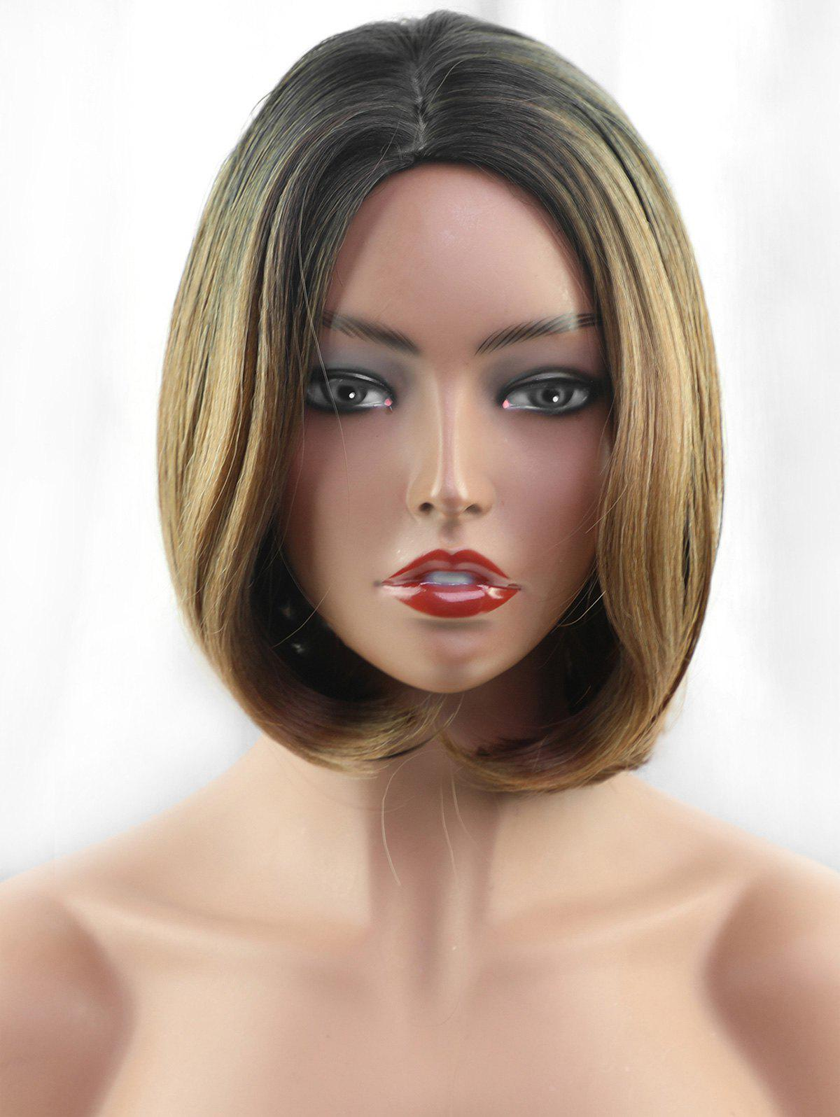 Trendy Short Side Parting Colormix Straight Bob Synthetic fiber Wig