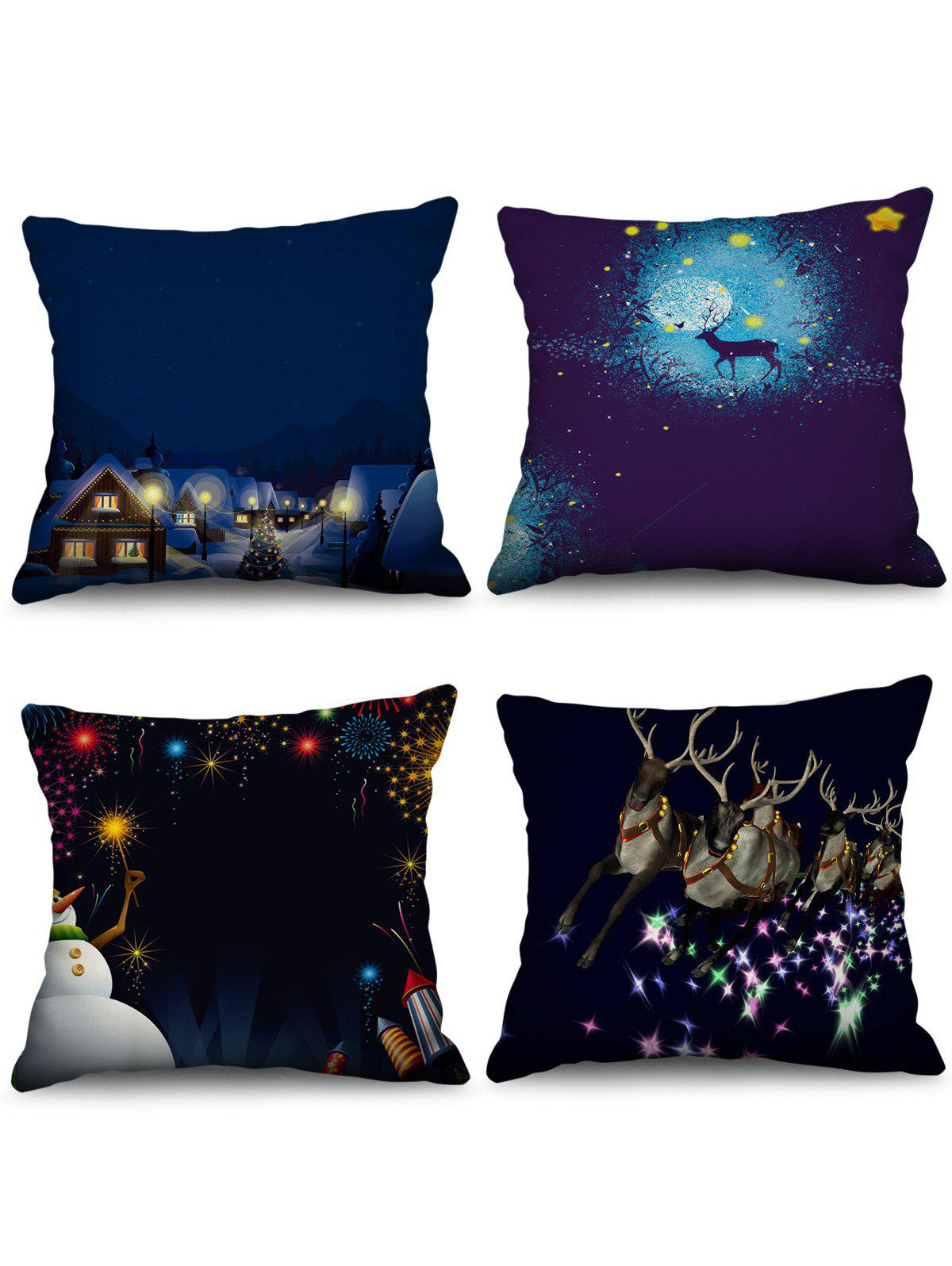Outfit 4PCS Christmas Deer Snowman Printed Pillowcases