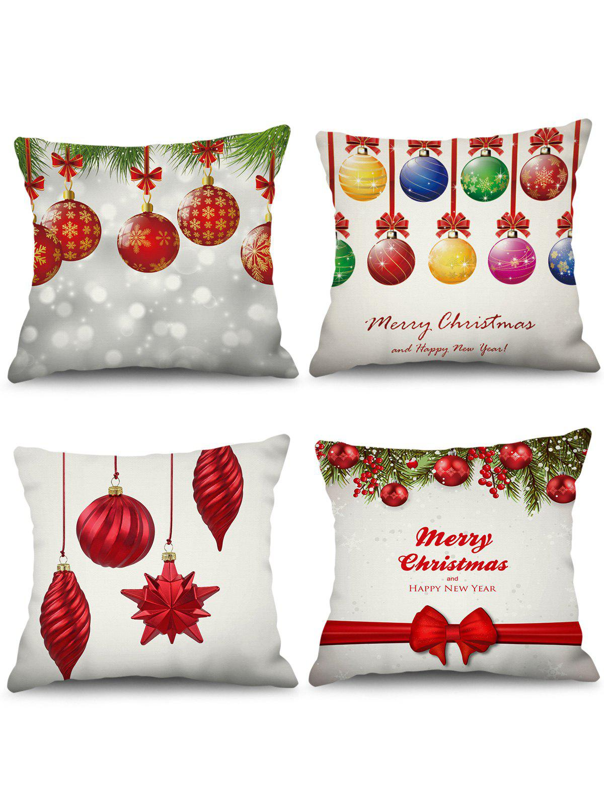 Fashion 4PCS Merry Christmas Ball Printed Pillowcases