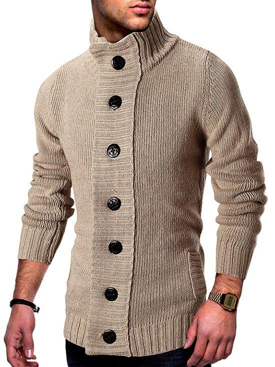 Online Stand Collar Button Fly Knitted Cardigan
