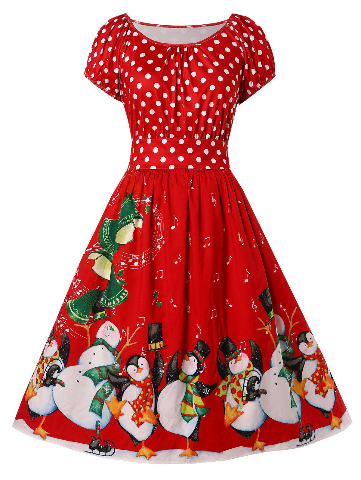 2dbc4cd743f 63% OFF   2019 Christmas Plus Size Penguin Print Flare Dress ...