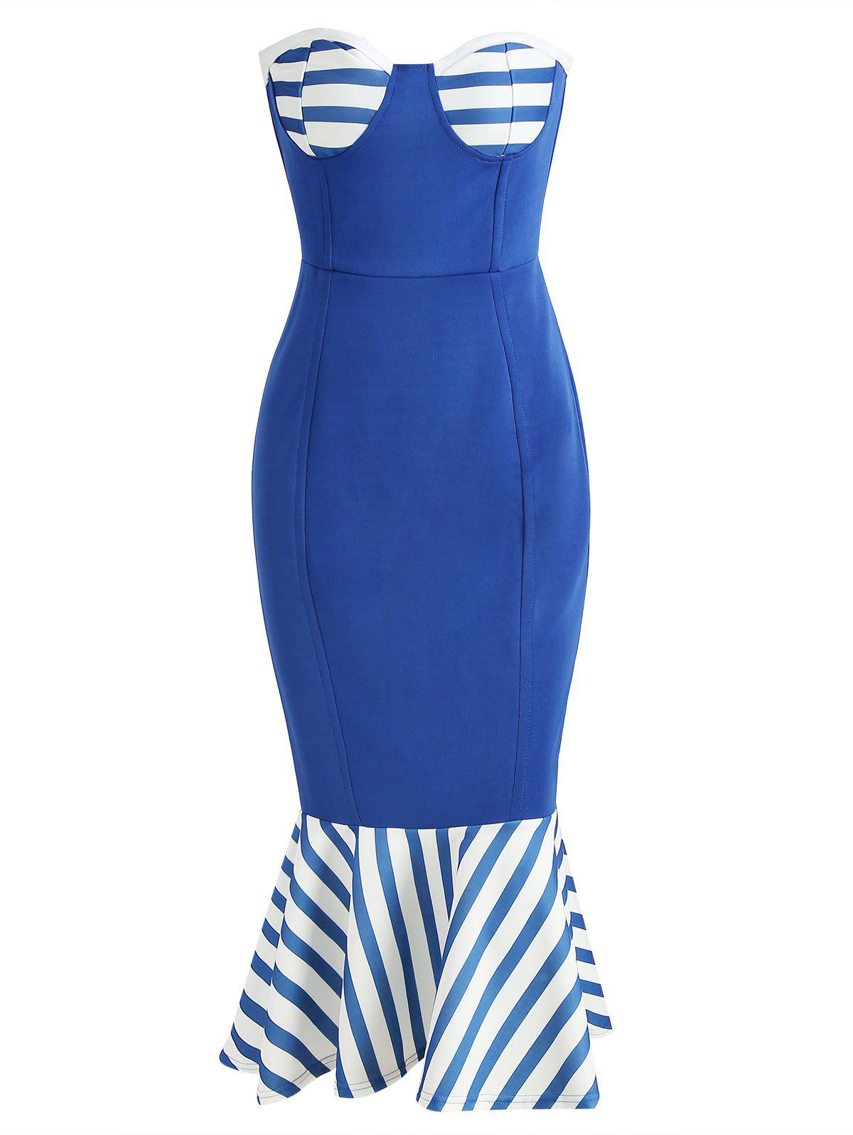Store Nautical Strapless Flounce Bodycon Dress