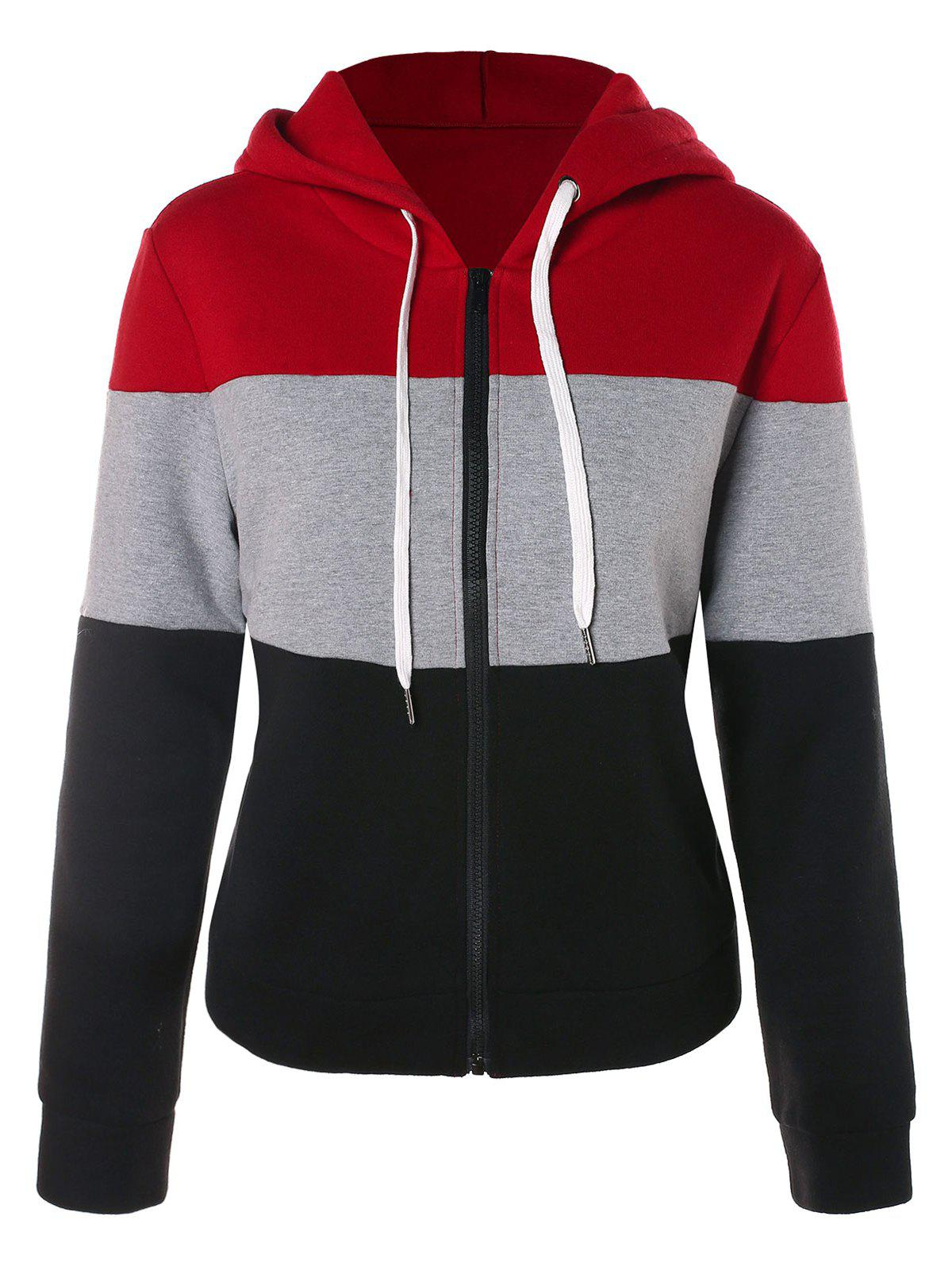 Fashion Hit Color Zip Fly Drawstring Hoodie
