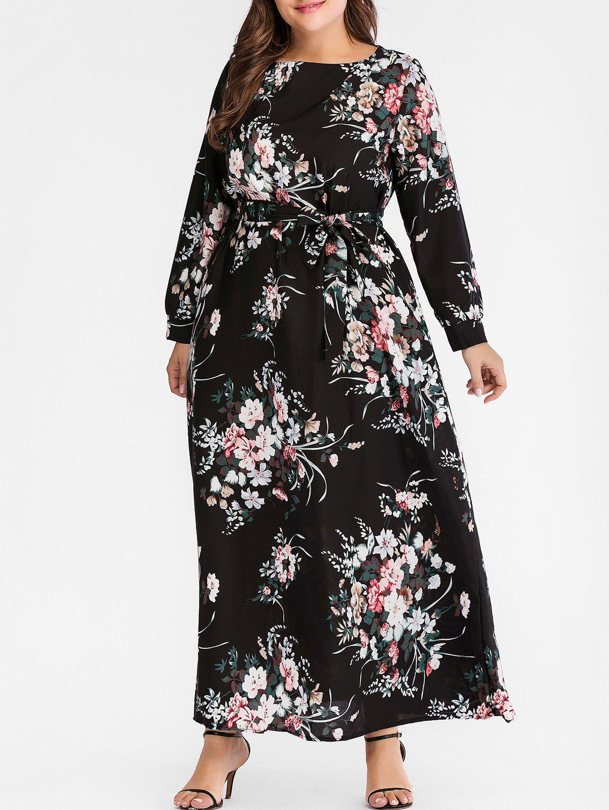 Fashion Plus Size Floral Long Dress with Belt