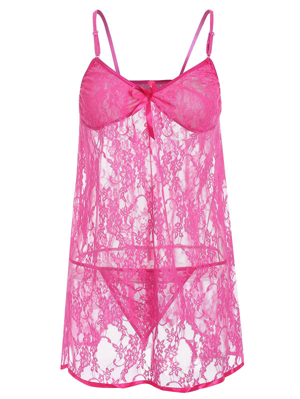 Affordable Plus Size See Through Lace Babydoll