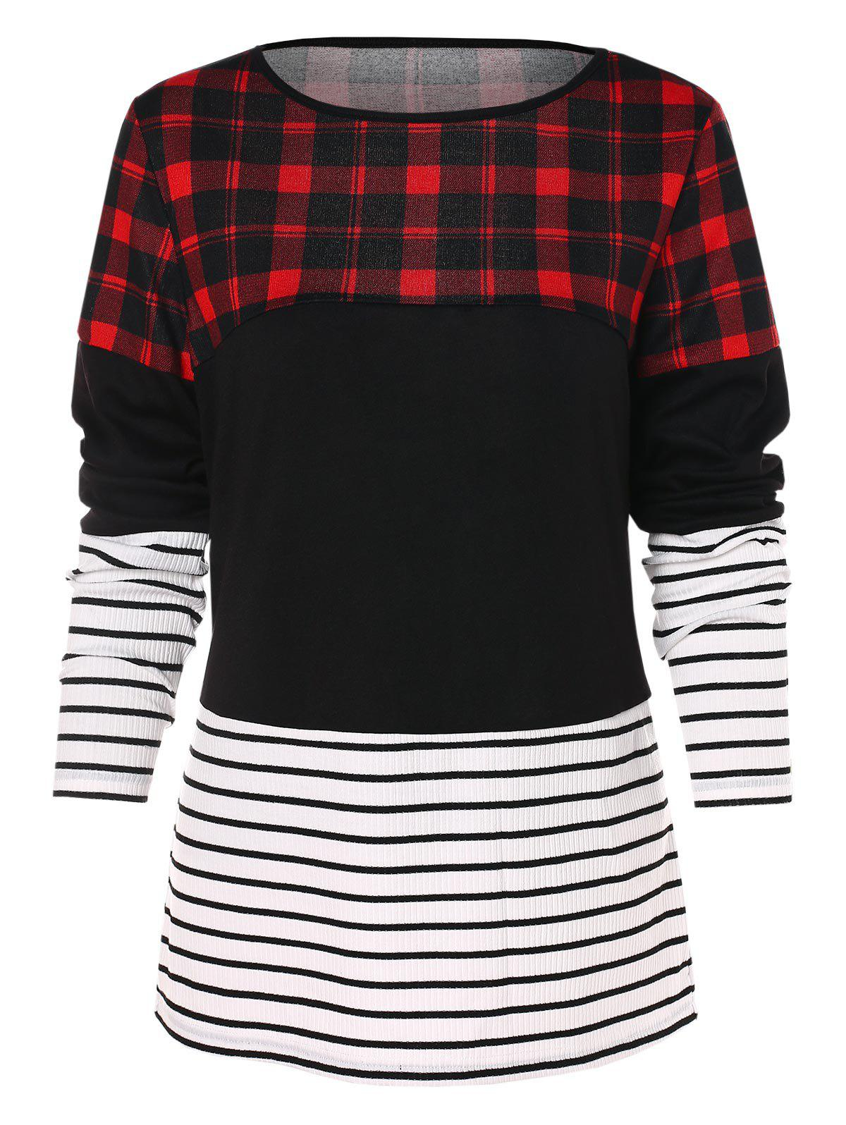 Outfit Plaid Stripe Long Sleeve T-shirt
