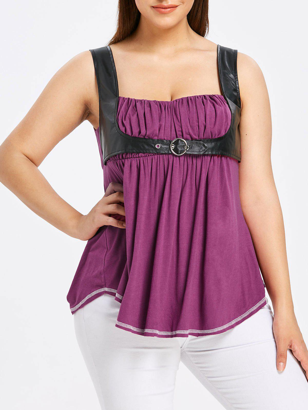 Chic Plus Size PU Leather Trim Gothic Tank Top