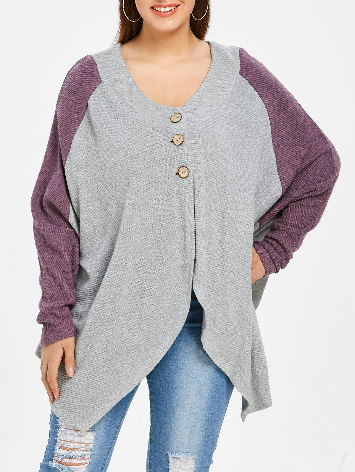 Best Button Detail Plus Size Asymmetrical Sweater