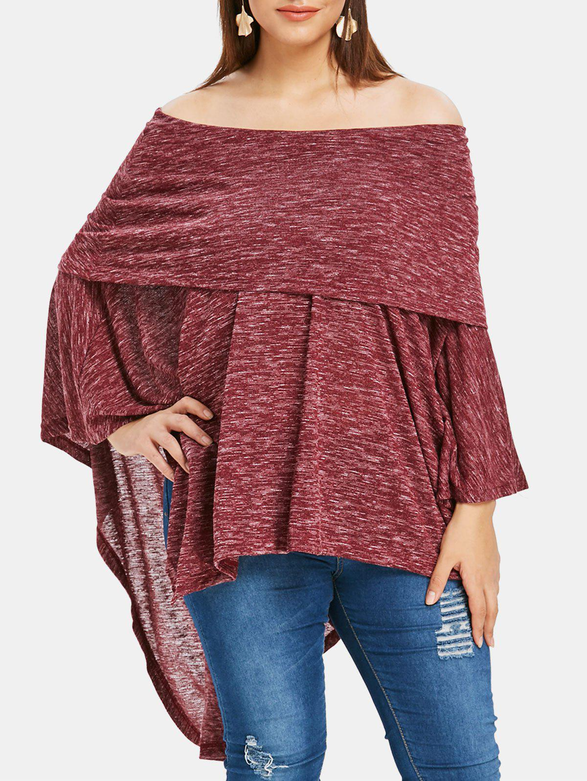 Store Plus Size Off Shoulder Asymmetrical Marled T-shirt