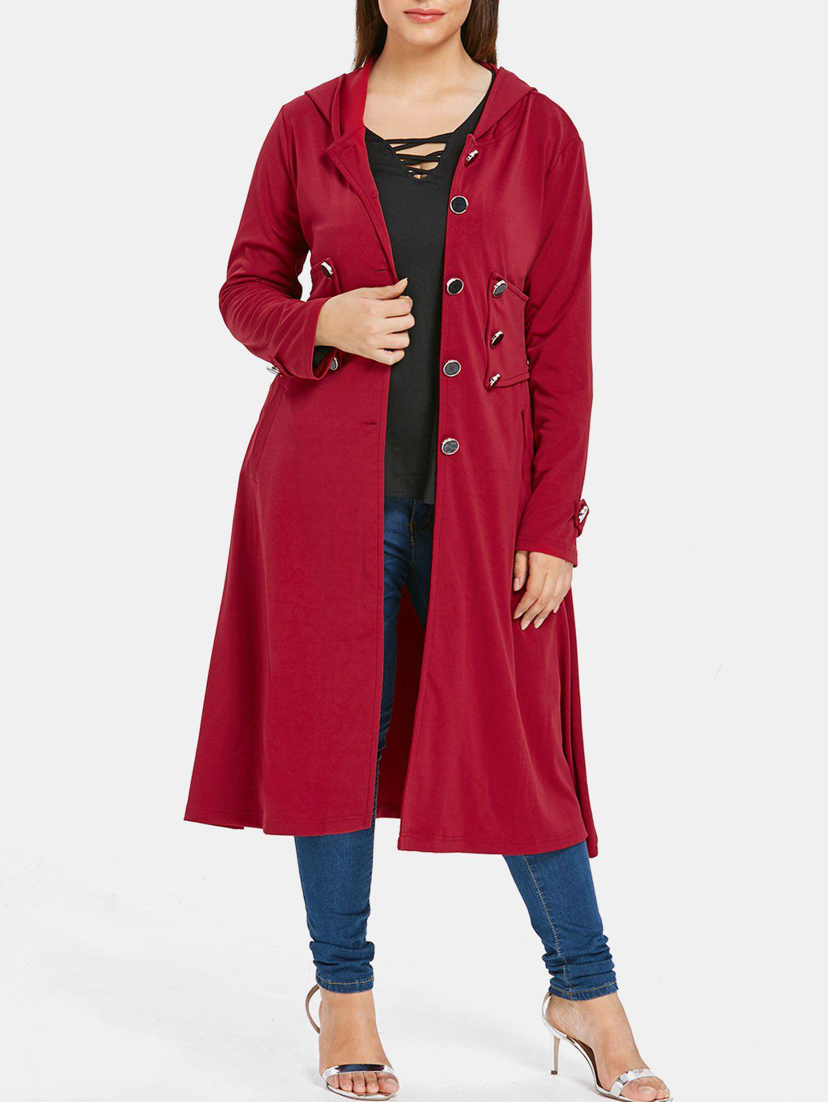 Outfit Plus Size Hooded Longline Coat