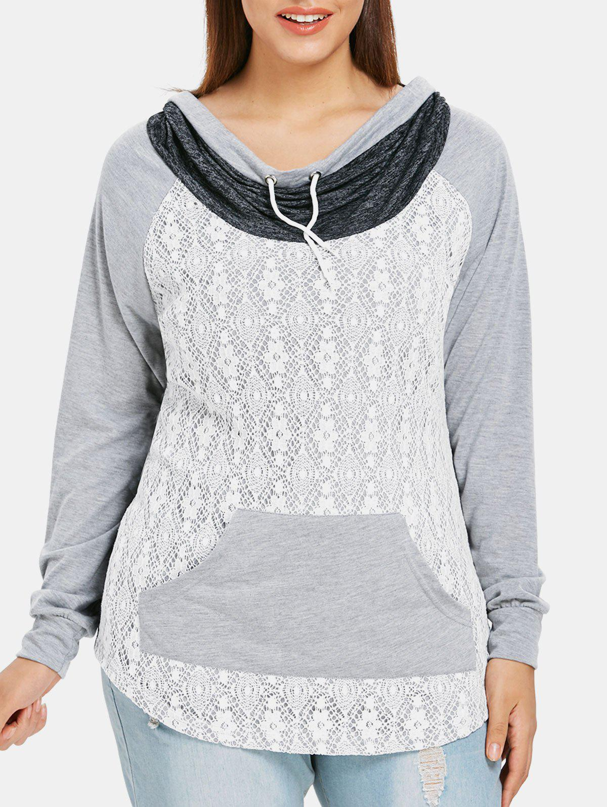 fc765387e0ac3 2018 Plus Size Lace Insert Cowl Neck T-shirt In Gray 4x