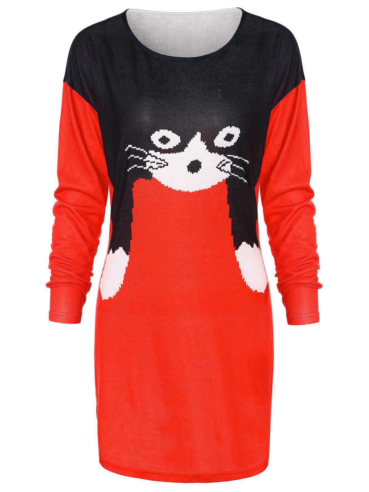 Cheap Christmas Cat Print Tunic Knit Top