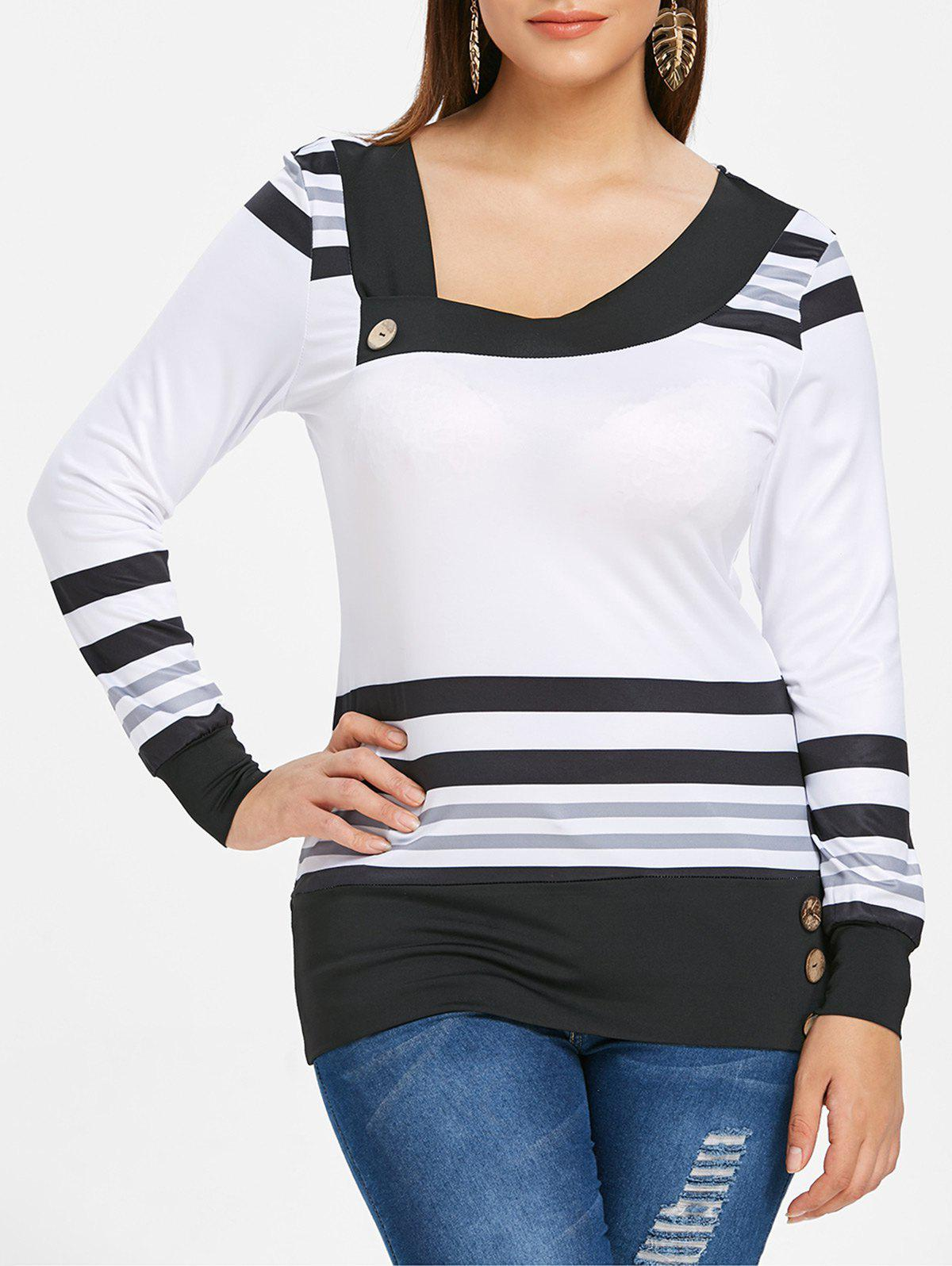 Shops Plus Size Stripe Skew Neck Tee