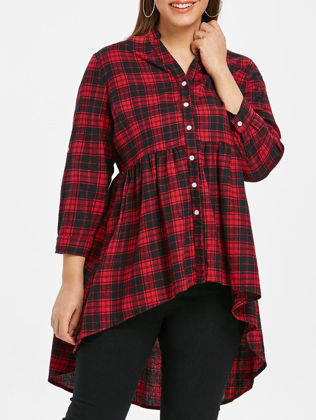 Image of Plus Size Tartan High Low Button Up Shirt