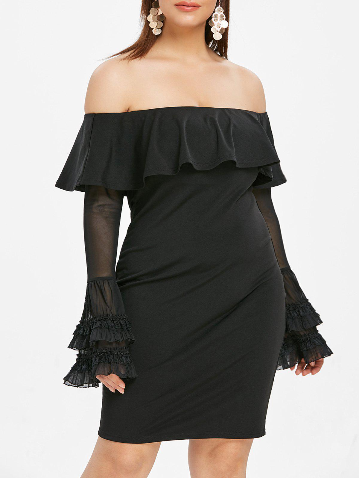 Best Flare Sleeve Plus Size Off The Shoulder Dress