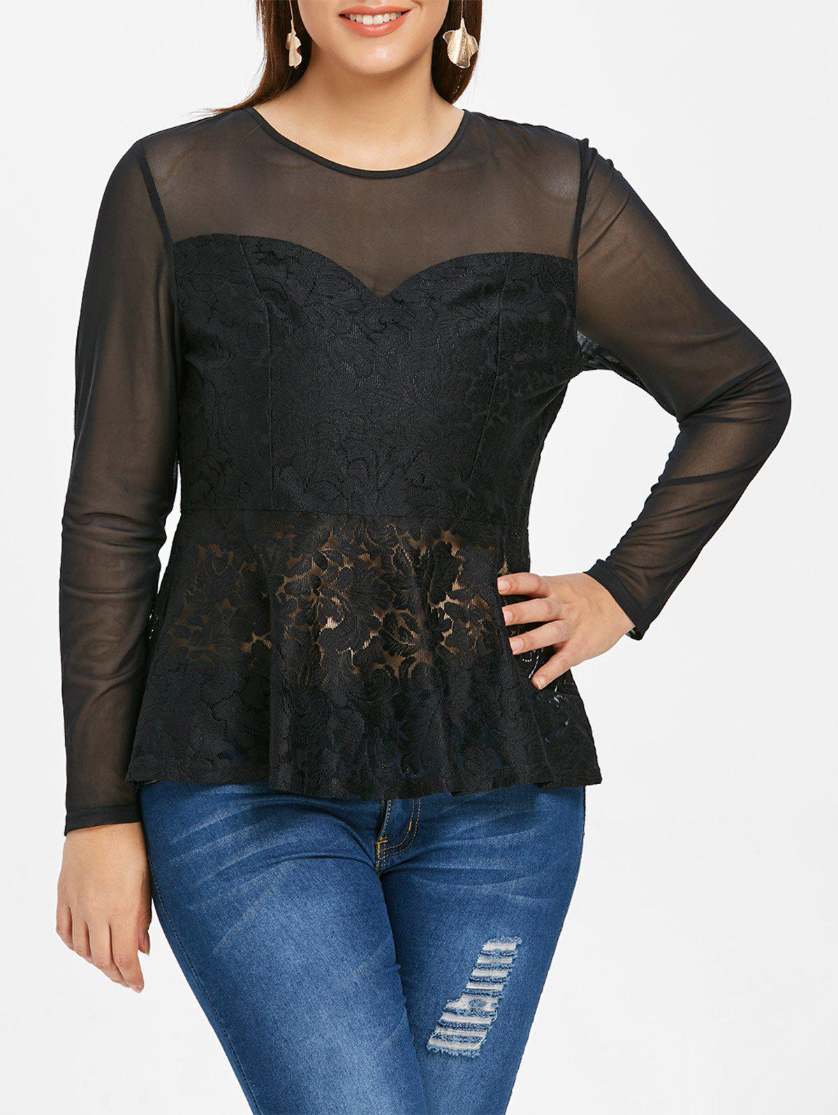 Hot Mesh and Lace Panel Plus Size T-shirt