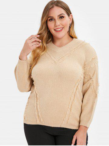 Plus Size Drop Shoulder Frayed Sweater