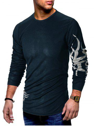 bed12ffe7 39% OFF] Crew Neck Buttons Edging Long Sleeve T-Shirt | Rosegal