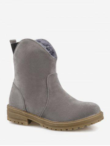 Plus Size Cut Out Suede Mid Calf Boots