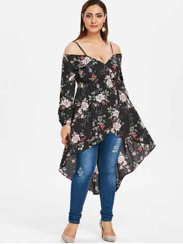 Plus Size Open Shoulder Floral High Low Top