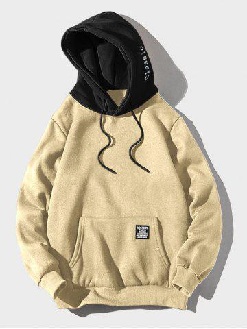 Contrast Letter Patch Detail Kangaroo Pocket Fleece Hoodie