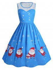 Christmas Lace Insert Plus Size Dress -