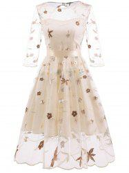 Embroidered Belted Lace Overlay Dress -